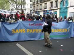 Demo zur Unterstützung der Travailleurs sans papiers am 1. Mai 2008